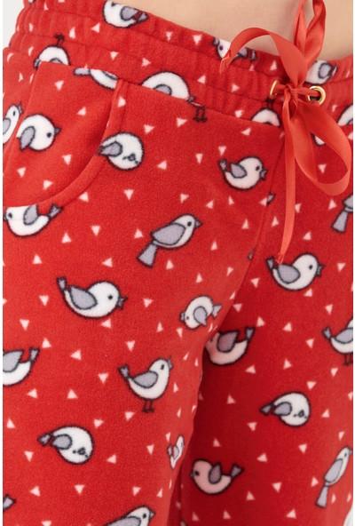 Sementa Kanguru Cepli Kapüşonlu Polar Kadın Pijama Takım - Kırmızı