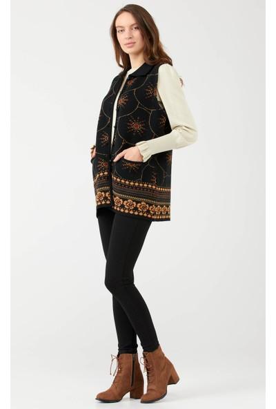 Sementa Polo Yaka Düğmeli Cepli Kadın Yelek - Siyah
