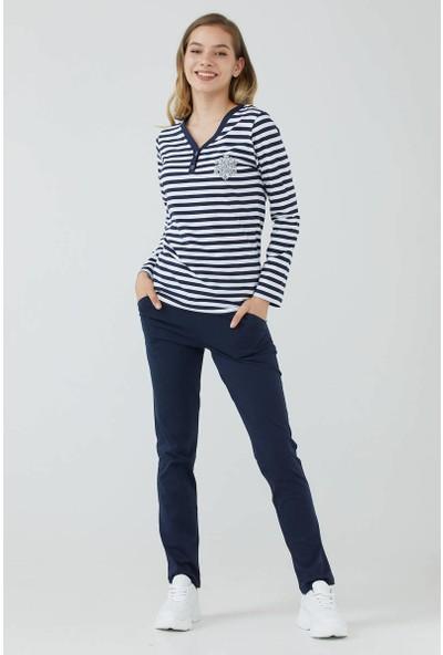 Sementa Kadın V Yaka Düğmeli Marine Pijama Takım - Lacivert