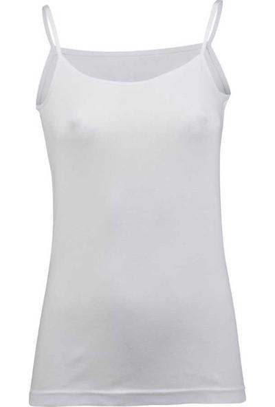 Grsn Kadın 6'lı Paket Ribana Ip Askılı Beyaz Atlet 21303