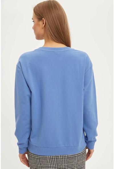 DeFacto Kadın Yarım Düşük Omuz Sweatshirt