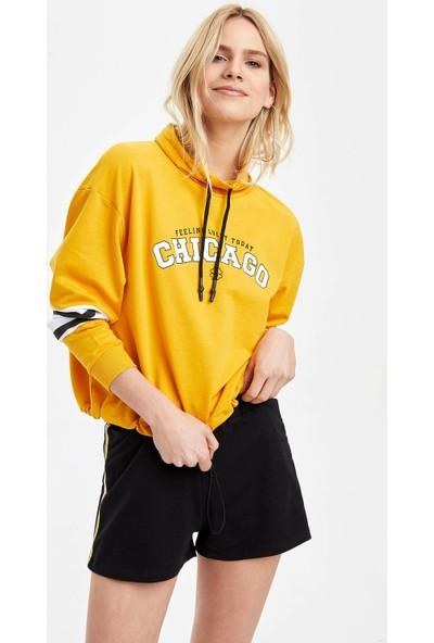 DeFacto Kadın Dik Yaka Baskılı Renk Bloklu Sweatshirt