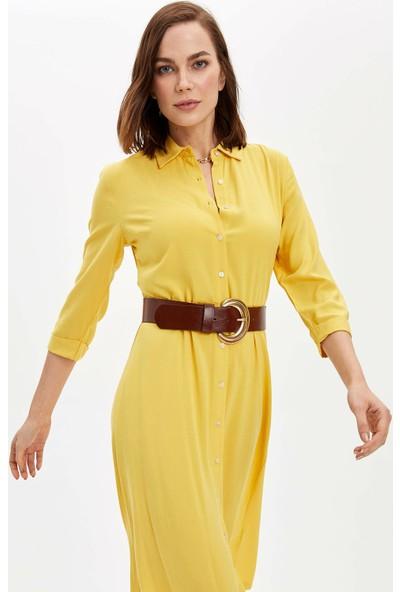 DeFacto Polo Yaka Beli Kuşaklı Uzun Elbise N0762AZ20SP