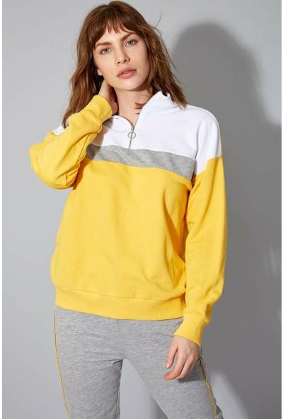 DeFacto Kadın Renk Bloklu Fermuarlı Sweatshirt