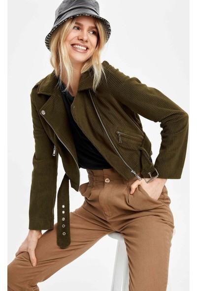 DeFacto Kadın Fermuarlı Suni Deri Ceket