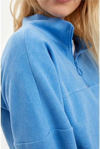 DeFacto Kadın Fermuar Detaylı Basic Sweatshirt