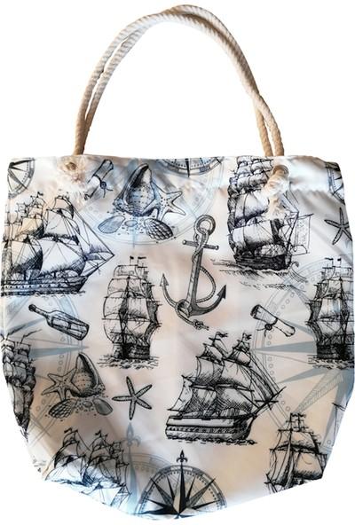 Sepet İçi İndirim Omuz Çantası Djital Baskılı Fermuarlı Denizci Desenli