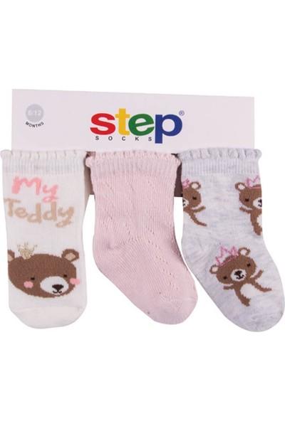 Step File Teddy 3'lü Soket Bebek Çorabı 10082