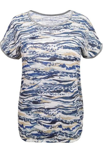 Mavi Kamuflaj Kadın Tişört