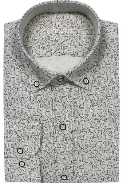 Varetta Slim Fit Krem Desenli Erkek Gömlek