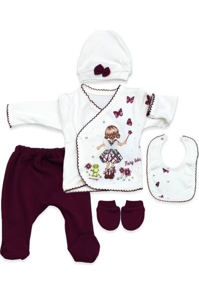 Minizeyn Kurbağalı Kelebekli Yenidoğan Kız Bebek Takımı K2914