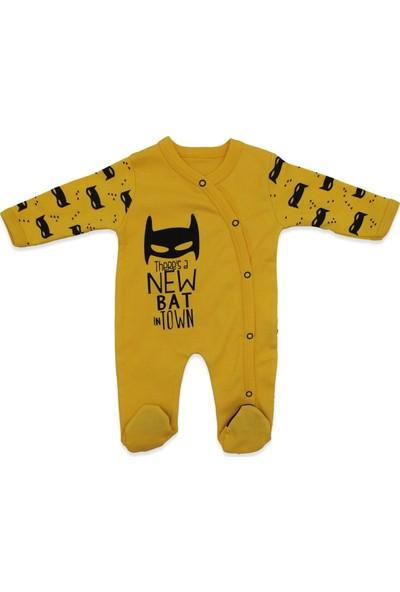 Minizeyn Sarı Batman Şapkalı Bebek Tulumu K2758