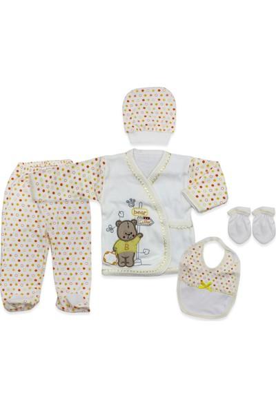 Juuta Sarı Ayıcıklı Yenidoğan Bebek 5'li Hastane Çıkışı Seti K2276