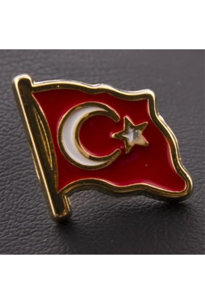 Bijuteri Net Ay Yıldız Türk Bayrağı Sarı Yaka Rozet Broş