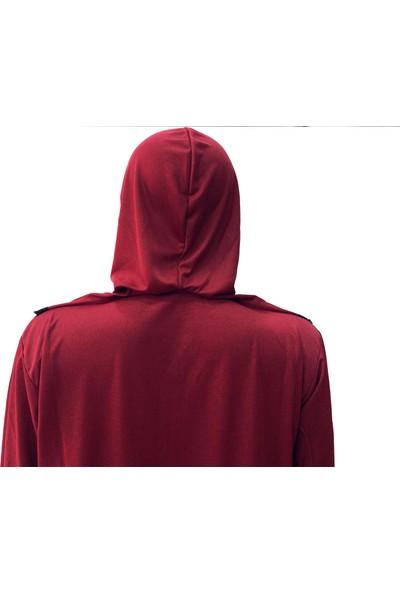 Hazal Namaz Elbisesi Eşarplı Fermuarlı Bordo 7726