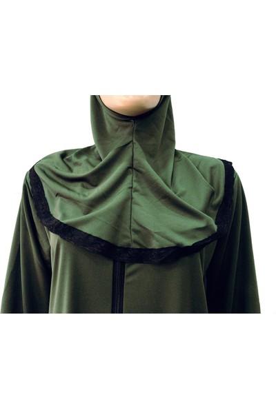 Hazal Namaz Elbisesi Eşarplı Fermuarlı Yesil 7740
