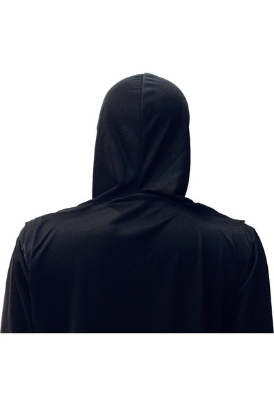 Hazal Namaz Elbisesi Eşarplı Fermuarlı Siyah 7734