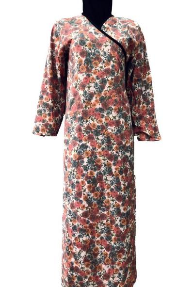 Hazal Namaz Elbisesi Kiremit Çiçek Desenli