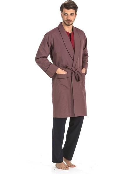 Pierre Cardin 5 Li Uzun & Şortlu Pijama Robdöşambır Bordo Damat Çeyiz Seti 5560