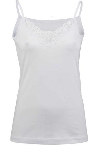 GRSN Kadın 6 Lı Paket Ribana Ip Askılı Beyaz Güpürlü Atlet 21343