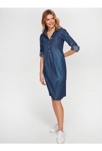 Faik Sönmez Kadın Gömlek Yaka Jean Elbise 60043