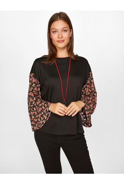 Faik Sönmez Kadın Kontrast Desenli T-Shirt 60640