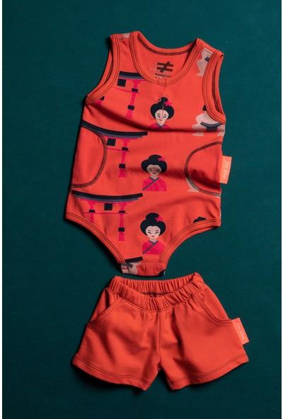 Moi Noi Şortlu Desenli Bodyli Bebek 2 Parça Takım