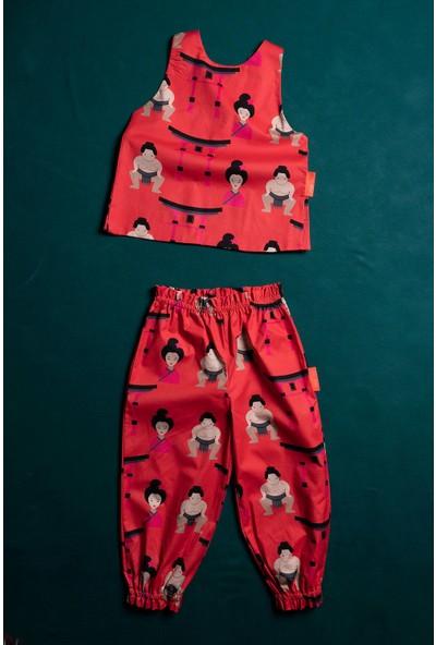 Moi Noi Desenli Kız Bebek ve Çocuk Atlet Pantolon Takım