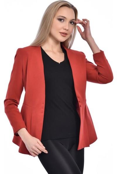 Modkofoni Düğme ve Pile Detaylı Blazer Kiremit Ceket