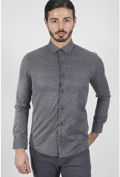 Jakamen Erkek Antrasit Slim Fit Gömlek