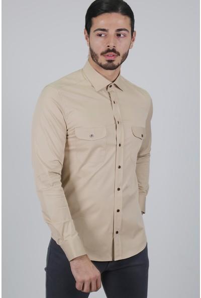 Jakamen Erkek Bej Slim Fit Gömlek-Jakamen Erkek