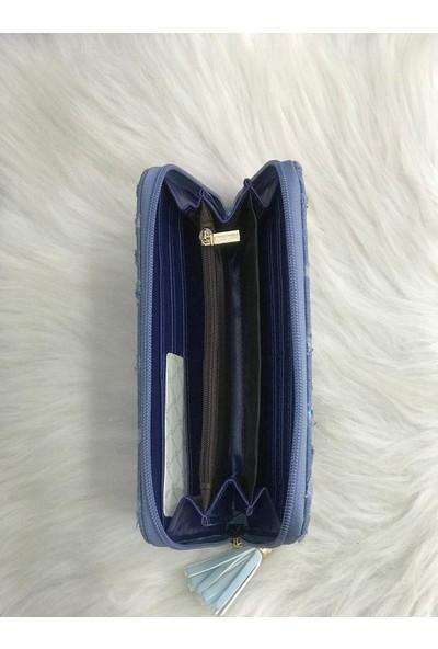 Lebina Açık Mavi Kot Cüzdan