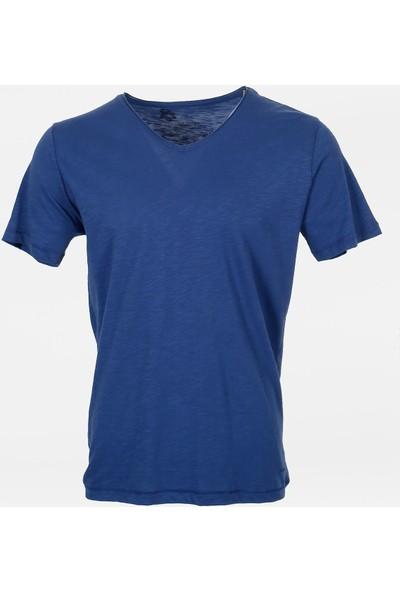 Jakamen Erkek İndigo V Yaka T-Shirt