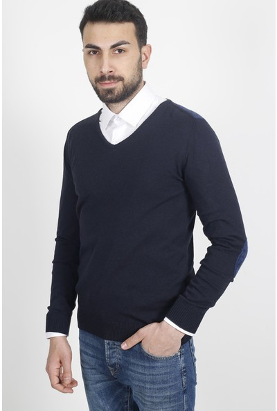 Jakamen Erkek Lacivert Dar Kalıp - Slim Fit Triko-Jakamen Erkek V Yaka