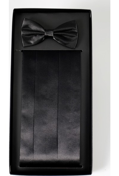 Jakamen Erkek Siyah Papyon Kuşak Set