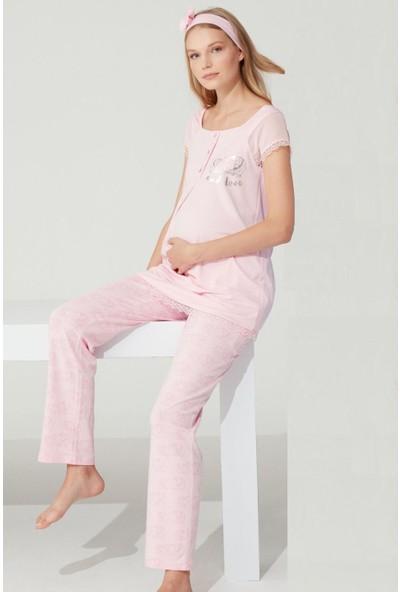 Feyza 3763 Hamile Lohusa Pijama Takımı - Pembe