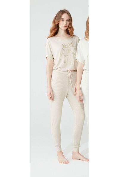 Feyza 3790 Kadın Pijama Takımı - Bej