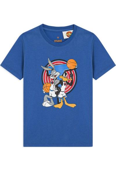 Mavi Daffy Duck Baskılı Parlak Mavi Tişört 6627831101