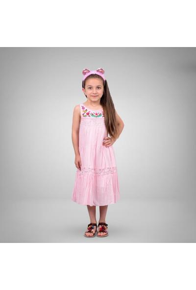 Tivido Pembe Nakışlı Elbise
