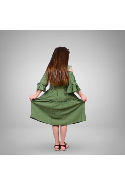 Tivido Kalın Askılı Yeşil Elbise