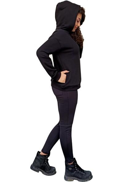 Moda Stoks Unisex Kapşonlu Siyah Sweatshirt