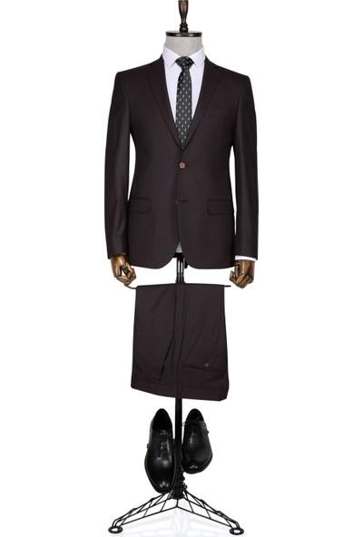 Buenza Firenze Slim fit Tek Yırtmaçlı Bordo Erkek Takım Elbise