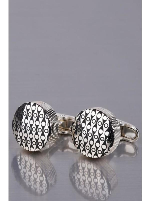 Kravatkolik Gümüş Renk Yuvarlak Kol Düğmesi KD1021