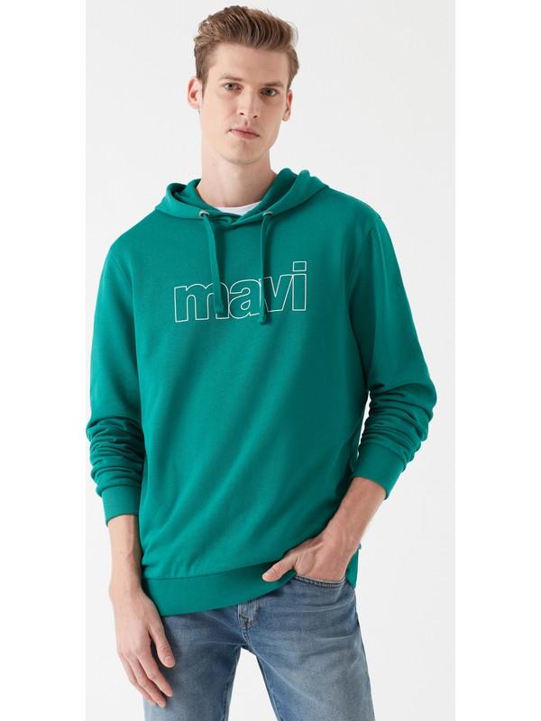 Mavi Erkek Mavi Logo Baskılı Kapüşonlu Yeşil Sweatshirt 065606-30836