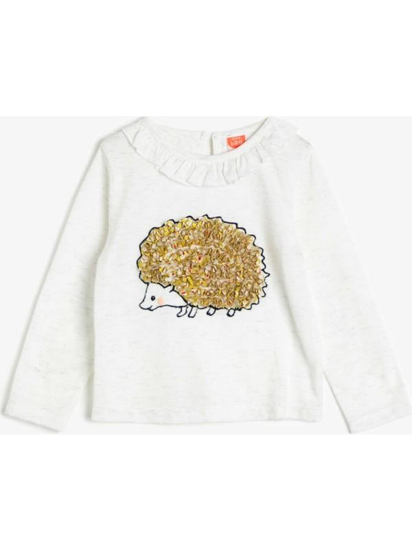Koton Kız Bebek İşlemeli T-Shirt