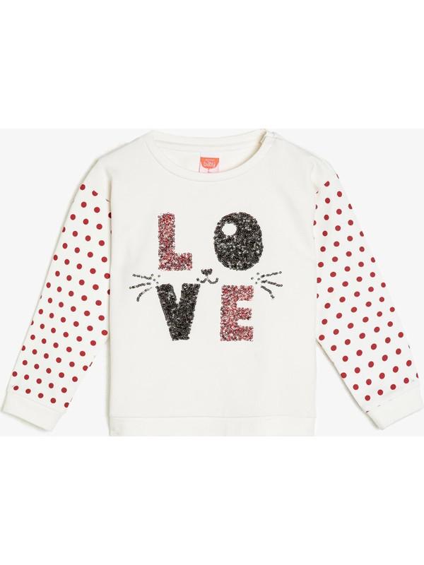 Koton Kids Kız Bebek Pul Detaylı Sweatshirt