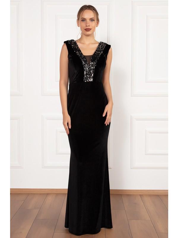 Kalopya Kadın Grace 13188 Pul Payet Detaylı Uzun Kadife Elbise