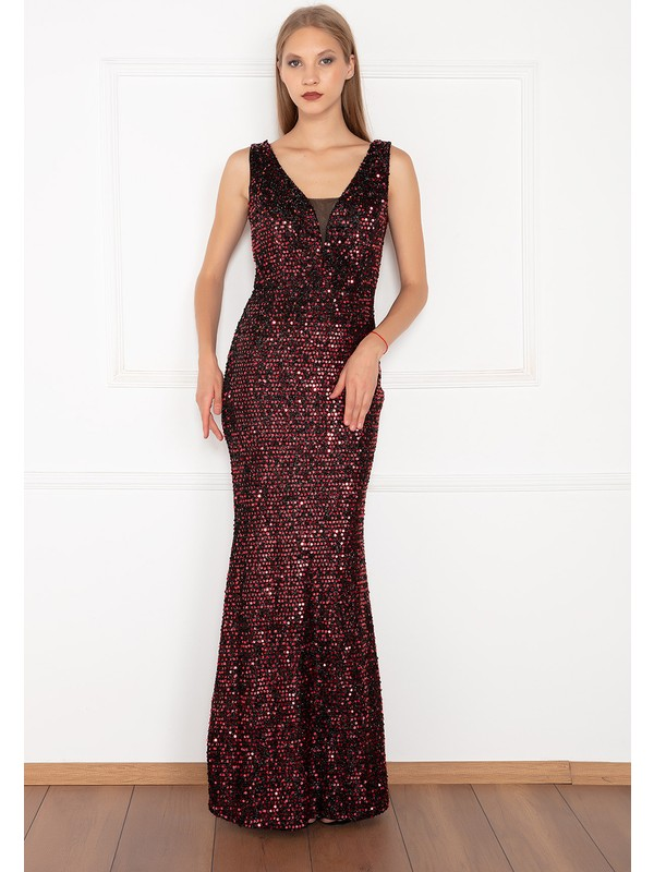 Kalopya Kadın Nehir 13154 V Yaka Pul Payet Balık Elbise