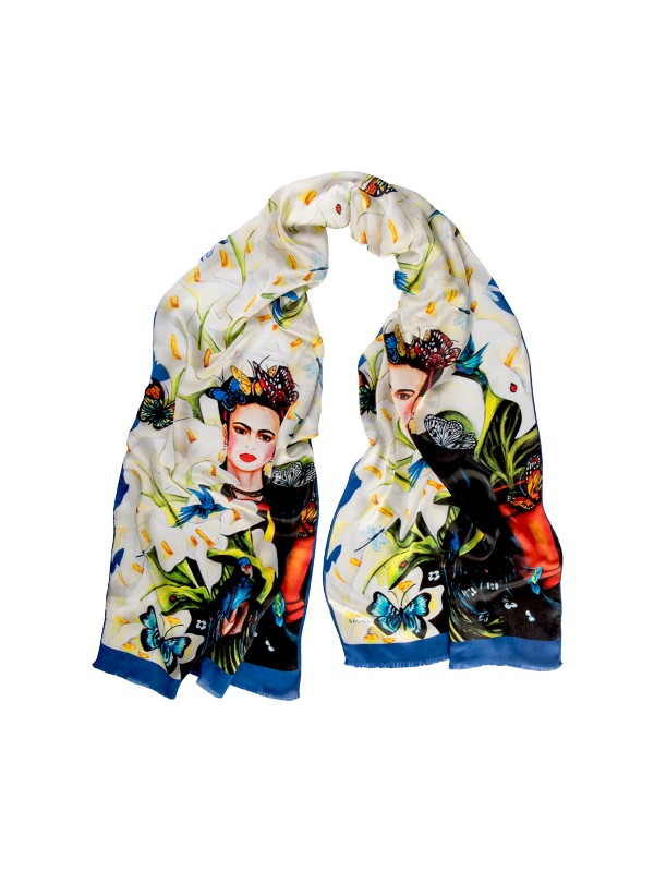 Galiga İpek Fular Frida Flowers Beyaz - Siyah