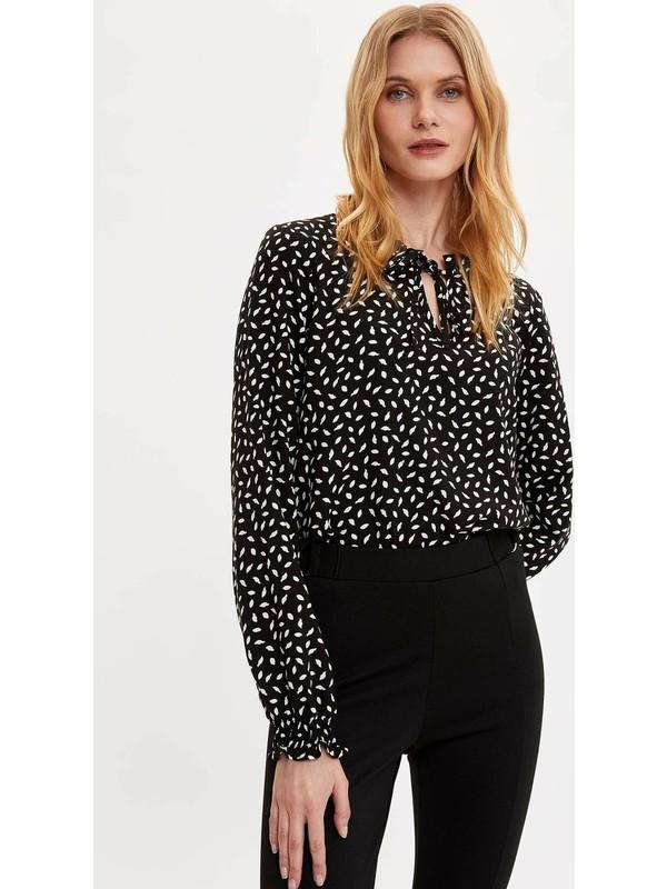 DeFacto Kadın Desenli Uzun Kollu Bluz
